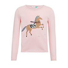 Buy John Lewis Girls' Horse T-Shirt, Coral Blush Online at johnlewis.com