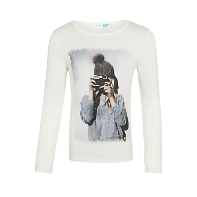 John Lewis Girls' Photo Print T-Shirt, Gardenia