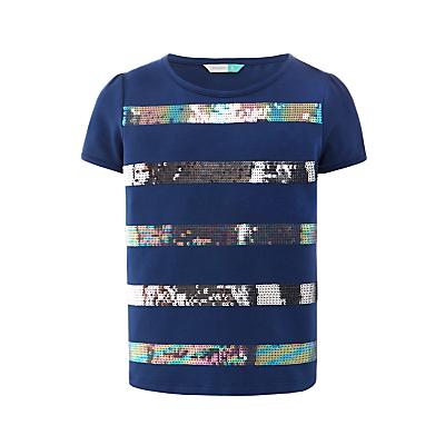 John Lewis Girls' Sequin Stripe T-Shirt, Insignia Blue