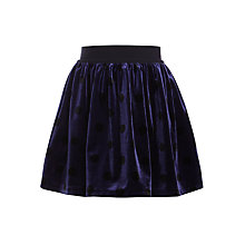 Buy John Lewis Girls' Velvet Spot Skirt, Navy Online at johnlewis.com