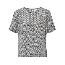 Buy John Lewis Silk Oval Dot T-Shirt, Blue/White Online at johnlewis.com