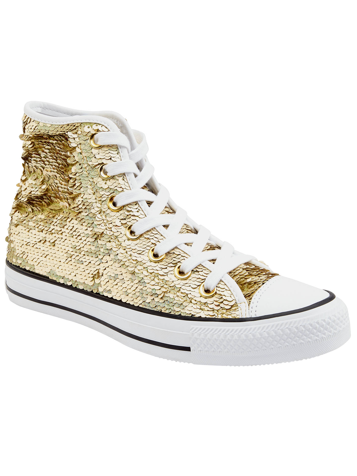 select for best quality first sleek Converse Chuck Taylor All Star Glitter Hi Top Trainers, Gold ...