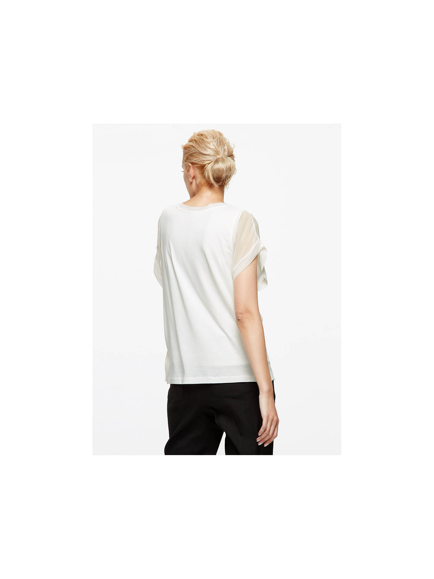 Buy Jigsaw Silk Front Overlay T-shirt, Ivory, XS Online at johnlewis.com