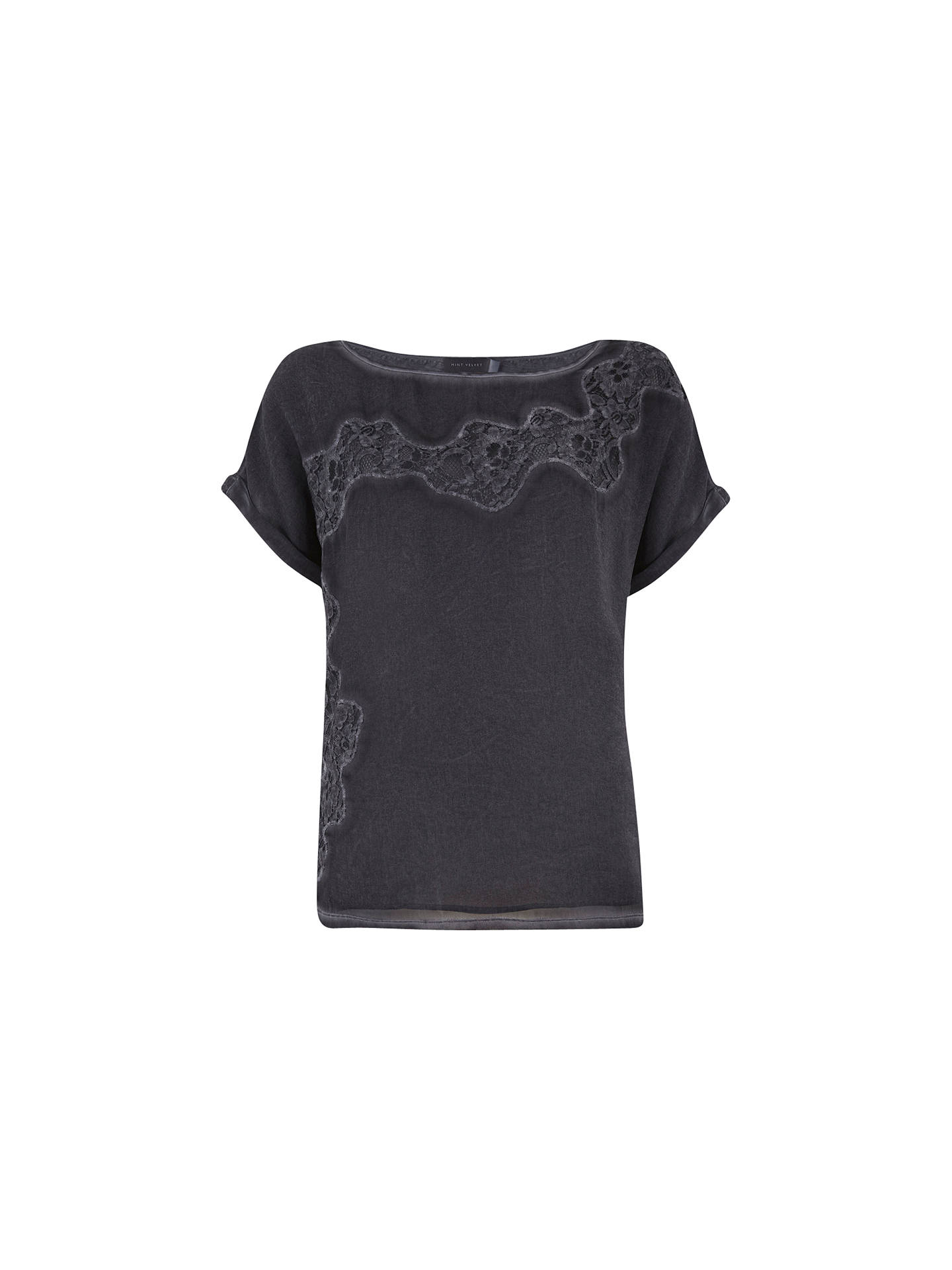 a9646ed883e9 Buy Mint Velvet Mercury Lace Overdye T-Shirt, Blue, 6 Online at johnlewis  ...