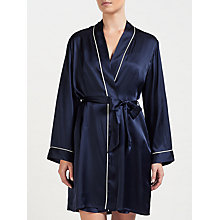 Buy John Lewis Contrast Trim Silk Robe, Navy Online at johnlewis.com