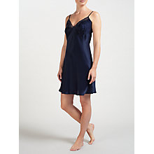 Buy John Lewis Silk Lace Trim Chemise, Navy Online at johnlewis.com