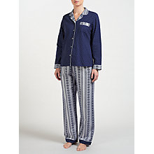 Buy John Lewis Lottie Border Print Pyjama Set, Navy/Ivory Online at johnlewis.com