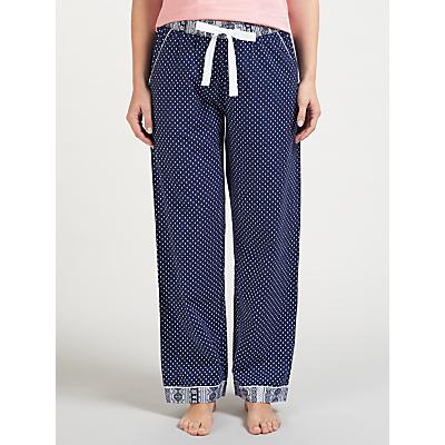 John Lewis Teardrop Print Pyjama Bottoms, Navy/Ivory