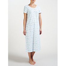 Buy John Lewis Rei Floral Short Sleeve Cotton Nightdress, Ivory/Blue Online at johnlewis.com