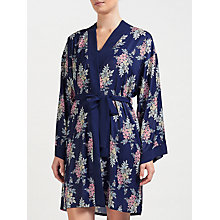 Buy John Lewis Leyla Floral Satin Kimono, Navy/Pink Online at johnlewis.com