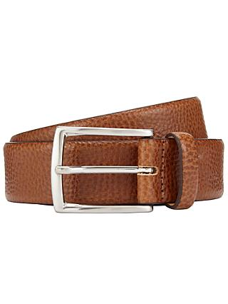 John Lewis & Partners Made in Italy Pebble Leather Belt, Tan