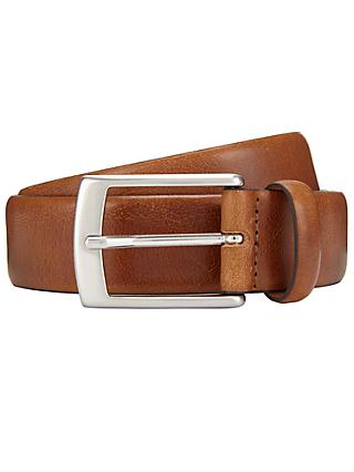 John Lewis & Partners Made in Italy Nevada Leather Belt, Tan