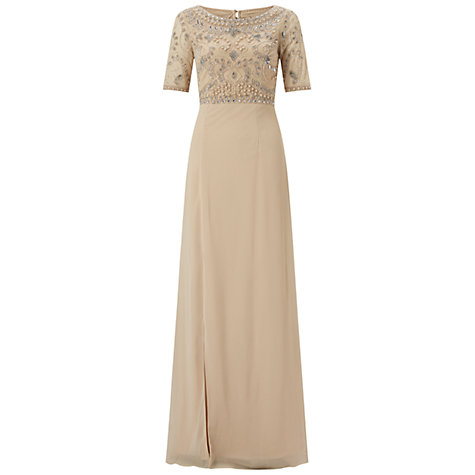 Buy Adrianna Papell Full Bead Gown, Nude Online at johnlewis.com