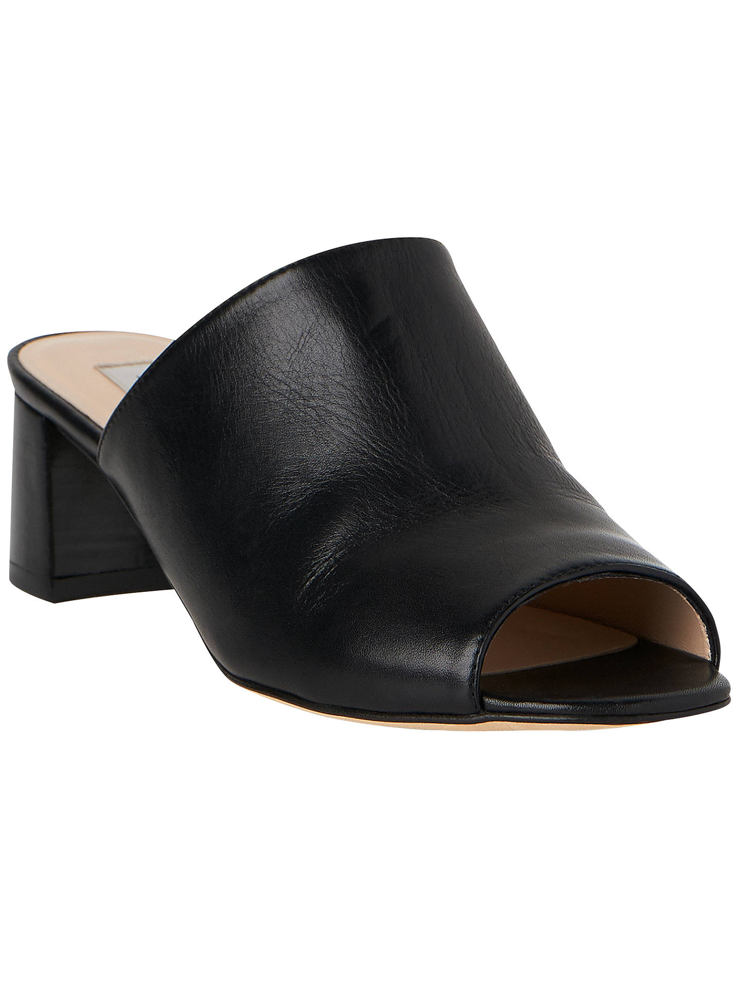 d0431d195d6 L.K. Bennett Dana Block Heeled Mule Sandals, Black Leather at John ...