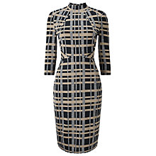 Buy Phase Eight Mia Funnel Neck Check Dress, Multi Online at johnlewis.com