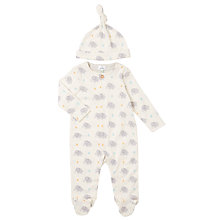Buy John Lewis Baby Elephant Print Sleepsuit And Hat Set, White/Grey Online at johnlewis.com