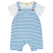 Buy John Lewis Baby Striped Dinosaur Bibshort, Blue/White Online at johnlewis.com