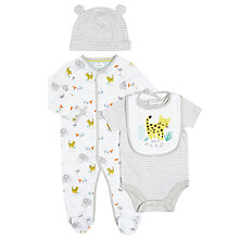 Buy John Lewis Baby Elephant Sleepsuit, Bodysuit, Bib and Hat Set, White Online at johnlewis.com