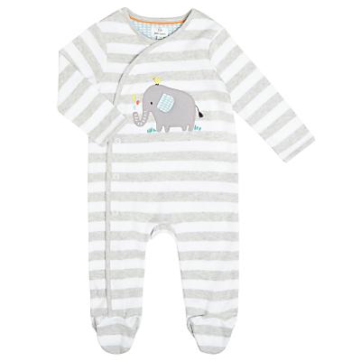 John Lewis Baby Appliqué Elephant Stripe Sleepsuit