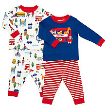Buy John Lewis Baby London Zoo Pyjamas, Pack of 2, Red/Blue Online at johnlewis.com