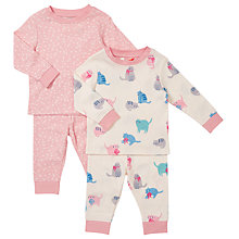 Buy John Lewis Cat and Flower Print Pyjamas, Cream/Pink Online at johnlewis.com