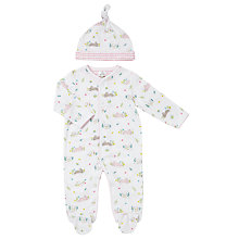 Buy John Lewis Baby Rabbit Sleepsuit and Hat, White Online at johnlewis.com