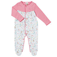 Buy John Lewis Baby Striped Animal Sleepsuit, Pink/White Online at johnlewis.com