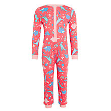 Buy John Lewis Children's Glow In The Dark Dinosaur Onesie, Pink Online at johnlewis.com