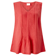 Buy East Pintuck Linen Sleeveless Top, Red Online at johnlewis.com