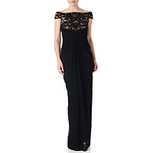 Buy Adrianna Papell Off Shoulder Sequin Tulle Gown, Black/Rose Gold Online at johnlewis.com