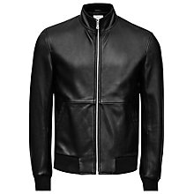 Buy Reiss Bruno Funnel Neck Leather Bomber Jacket, Black Online at johnlewis.com