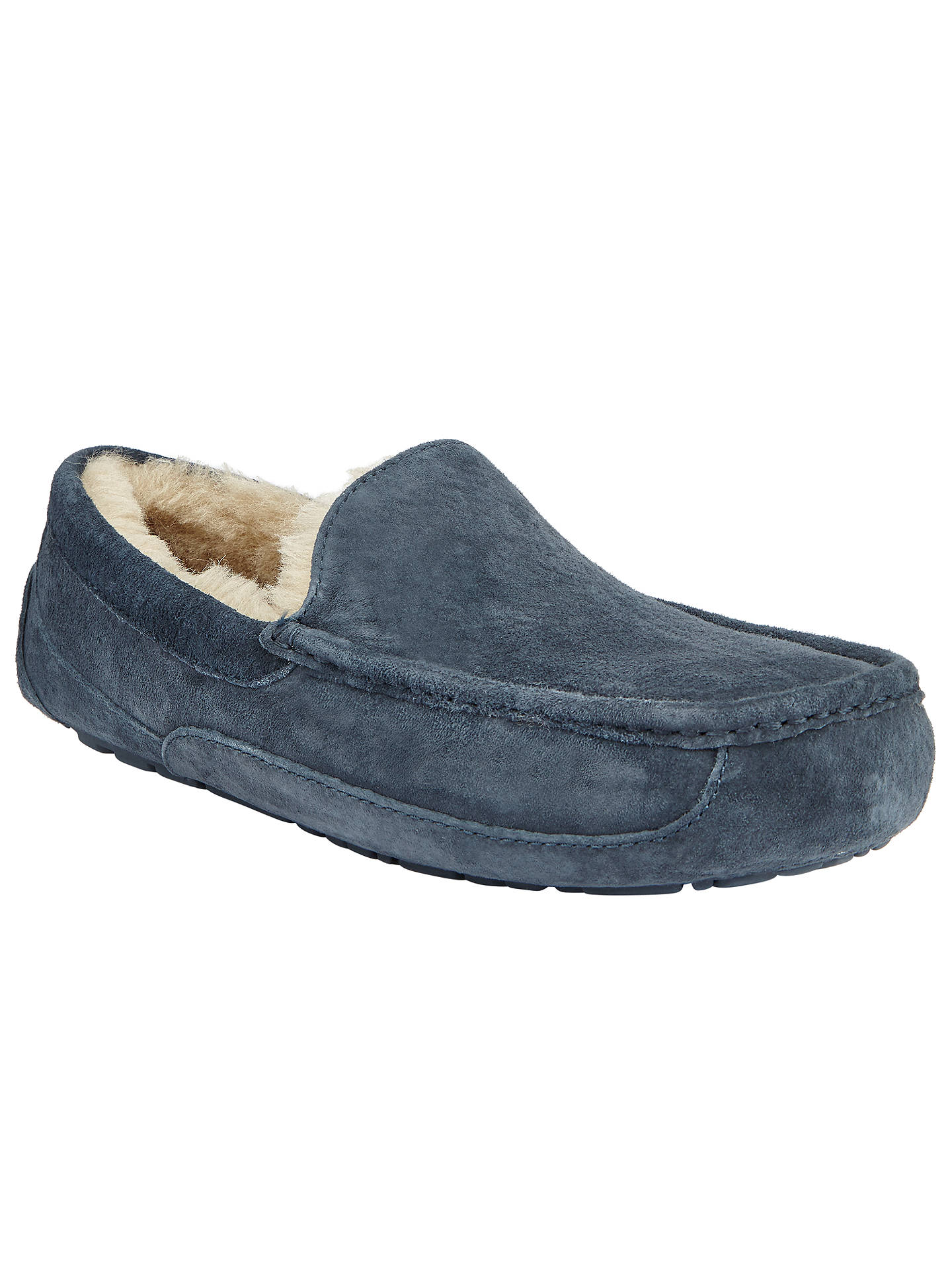 1c1fe984872 UGG Ascot Moccasin Suede Slippers, Navy at John Lewis & Partners