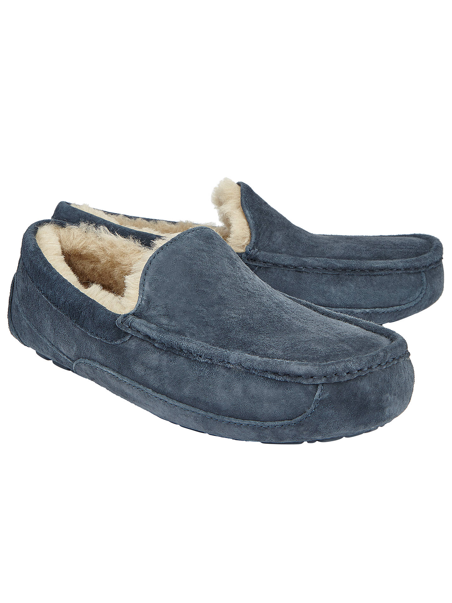 1efb27cc752 UGG Ascot Moccasin Suede Slippers, Navy at John Lewis & Partners