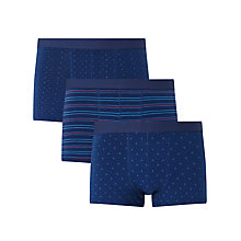 Buy John Lewis Dot/Stripe/Triangle Trunks, Pack of 3, Blue Online at johnlewis.com