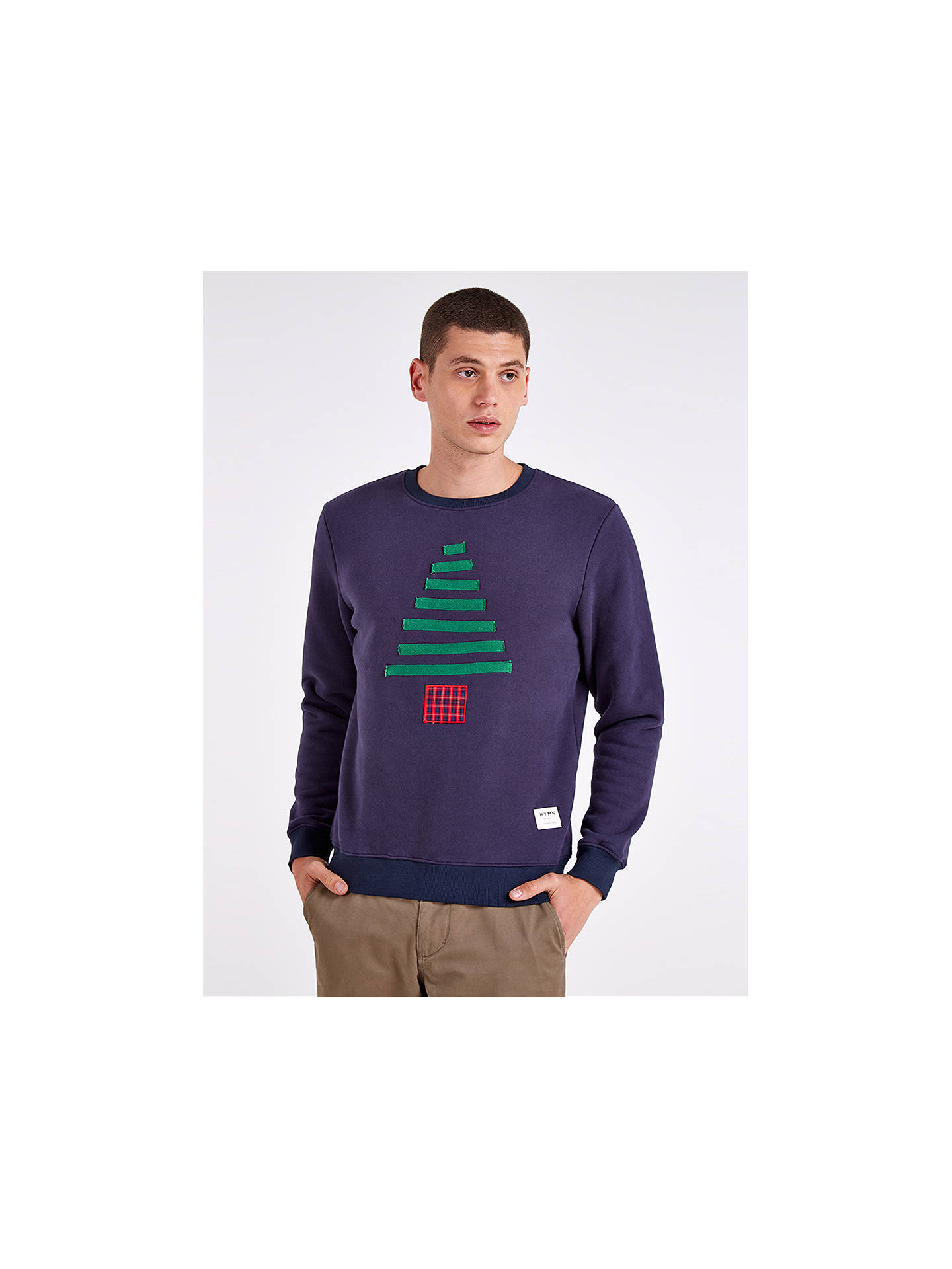 Buy HYMN Christmas Tree Sweatshirt, Navy, S Online at johnlewis.com