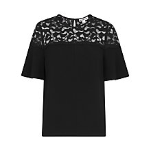 Buy Whistles Lou Lou Lace Top, Black Online at johnlewis.com