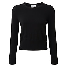 Buy Pure Collection Isabelle Cashmere Crop Jumper, Black Online at johnlewis.com