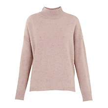 Buy Whistles Funnel Neck Donegal Knit, Pale Pink Online at johnlewis.com