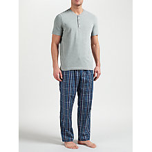 Buy John Lewis Hythe Check Trousers and Grandad T-Shirt Lounge Set, Grey/Blue Online at johnlewis.com