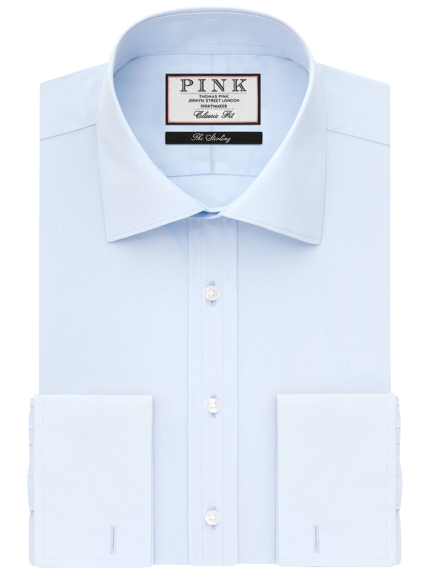 BuyThomas Pink Frederick Plain Classic Fit XL Sleeve Double Cuff Shirt, Pale Blue, 15 Online at johnlewis.com