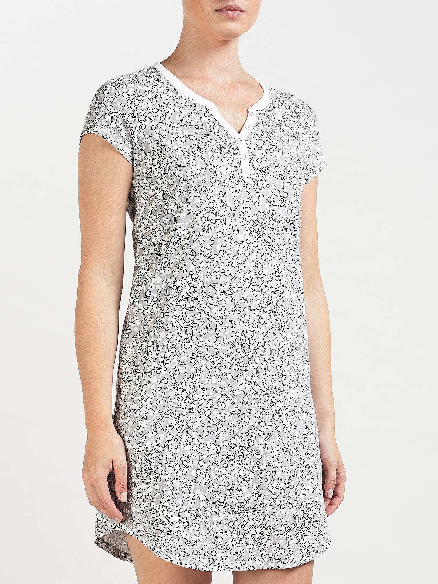 76f8a2d6a94e Buy John Lewis Olga Ditsy Floral Print Short Sleeve Night Dress, Grey/Ivory,  ...