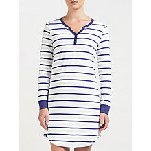 Buy John Lewis Long Sleeve Breton Stripe Nightdress, Navy/Ivory Online at johnlewis.com
