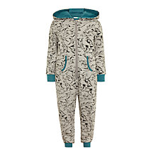 Buy John Lewis Children's Dinosaur Print Onesie, Grey Online at johnlewis.com
