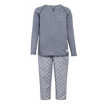 Buy John Lewis Children's Henley Striped Pyjamas, Dark Grey Online at johnlewis.com