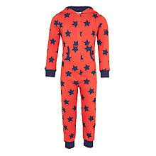 Buy John Lewis Children's Star Print Onesie, Red Online at johnlewis.com
