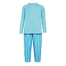 Buy John Lewis Children's Henley Check Pyjamas, Light Blue Online at johnlewis.com