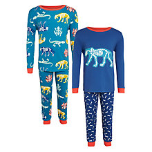 Buy John Lewis Children's Glow In The Dark Animal Skeleton Pyjamas, Pack of 2, Blue/Multi Online at johnlewis.com