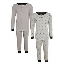 Buy John Lewis Children's Ribbed Henley Pyjamas, Pack of 2, Grey Online at johnlewis.com