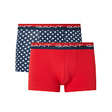 Buy Gant Polka Star Plain Trunks Gift Set, Pack of 2 Navy/Red Online at johnlewis.com