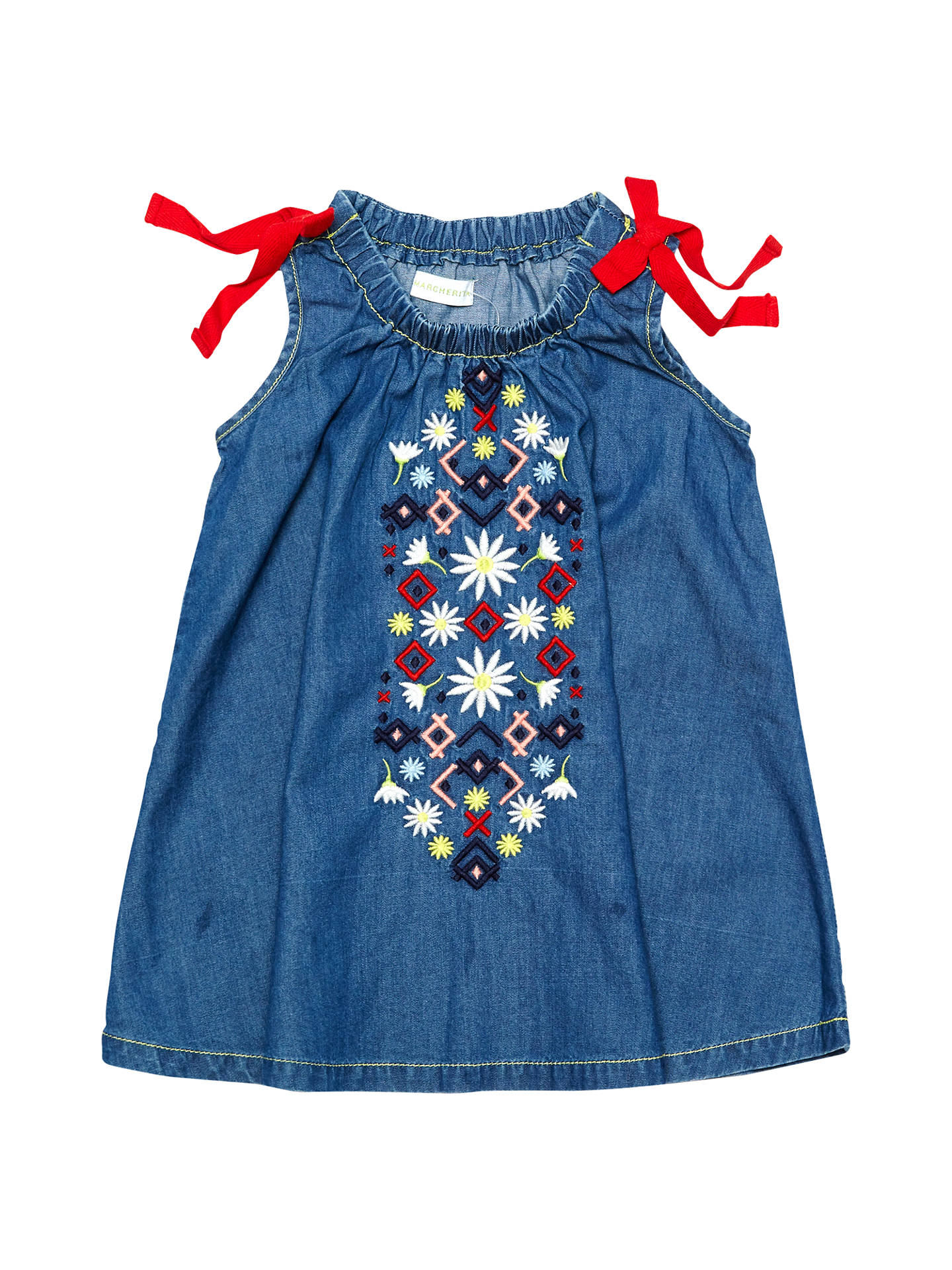 Buy Margherita Kids Baby Embroidered Chambray Dress, Blue, 3-6 months Online at johnlewis.com